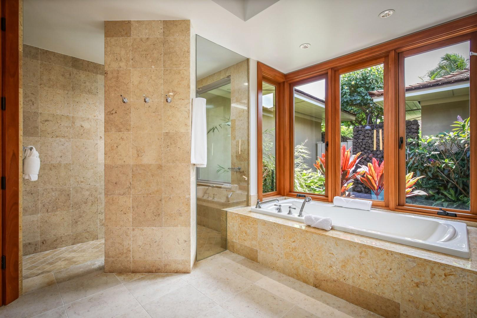 Master suite shower and tub.