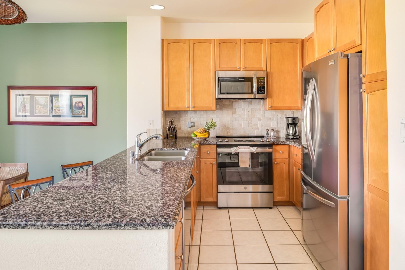 Plenty of Counter Space in the Well-Equipped Kitchen