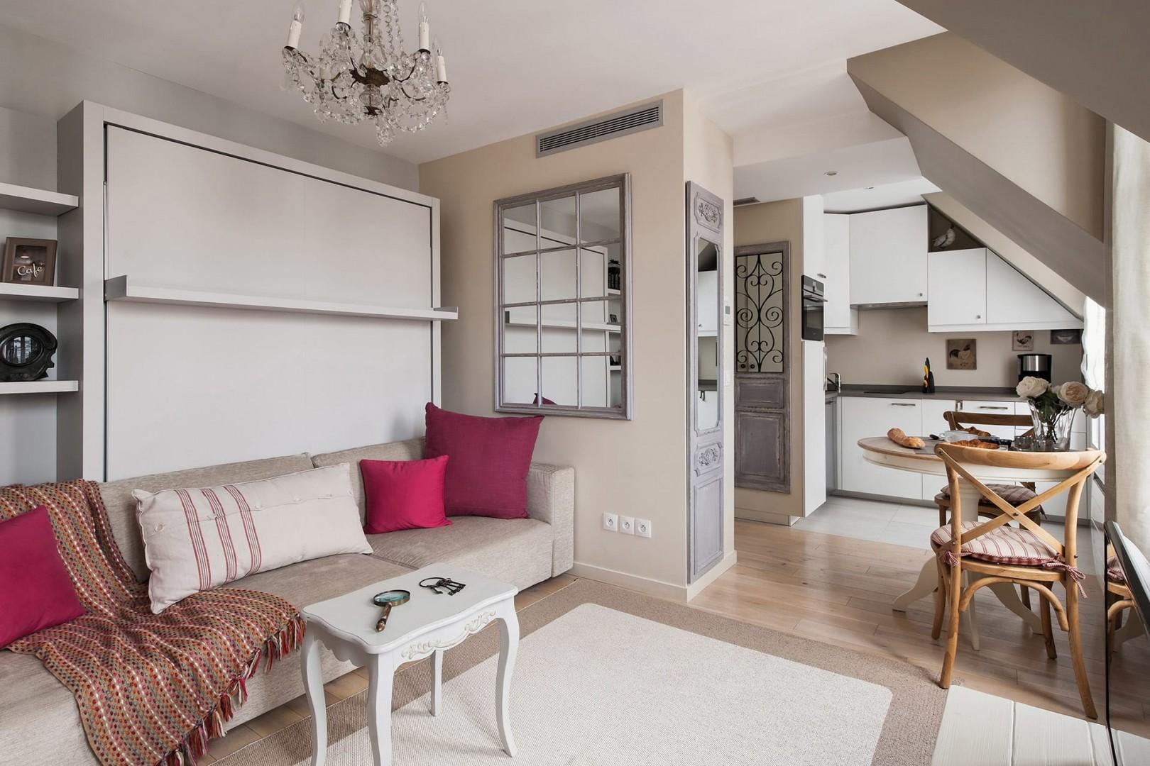The open-plan design creates lots of space in this studio apartment.