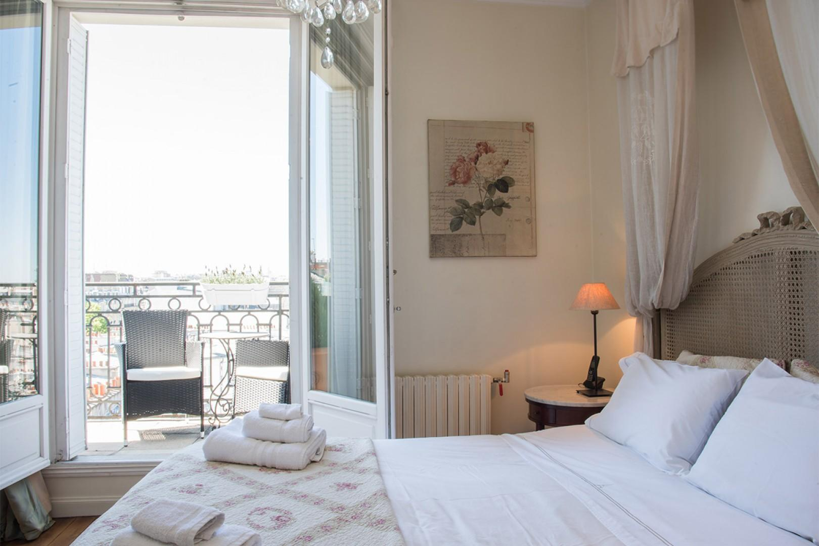 The large French windows let in lots of natural light.