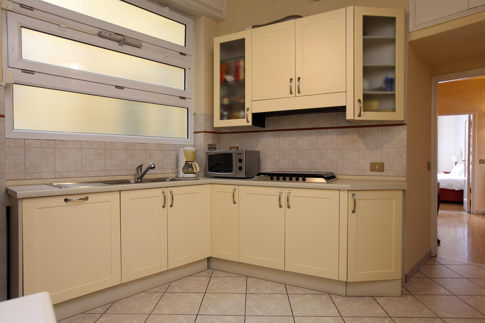 Modern, fully appointed kitchen.