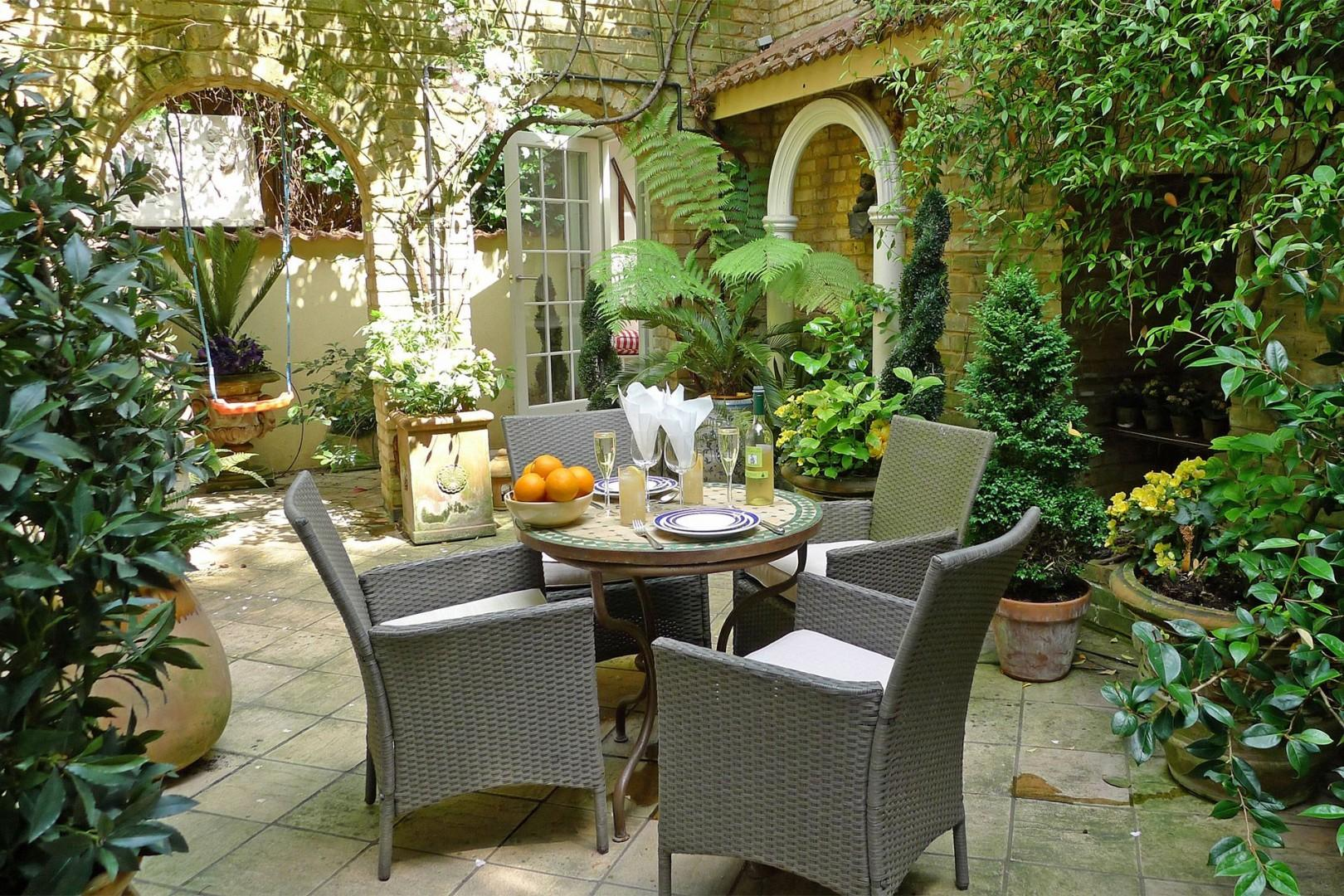 Relax in your patio garden after a long day of sightseeing