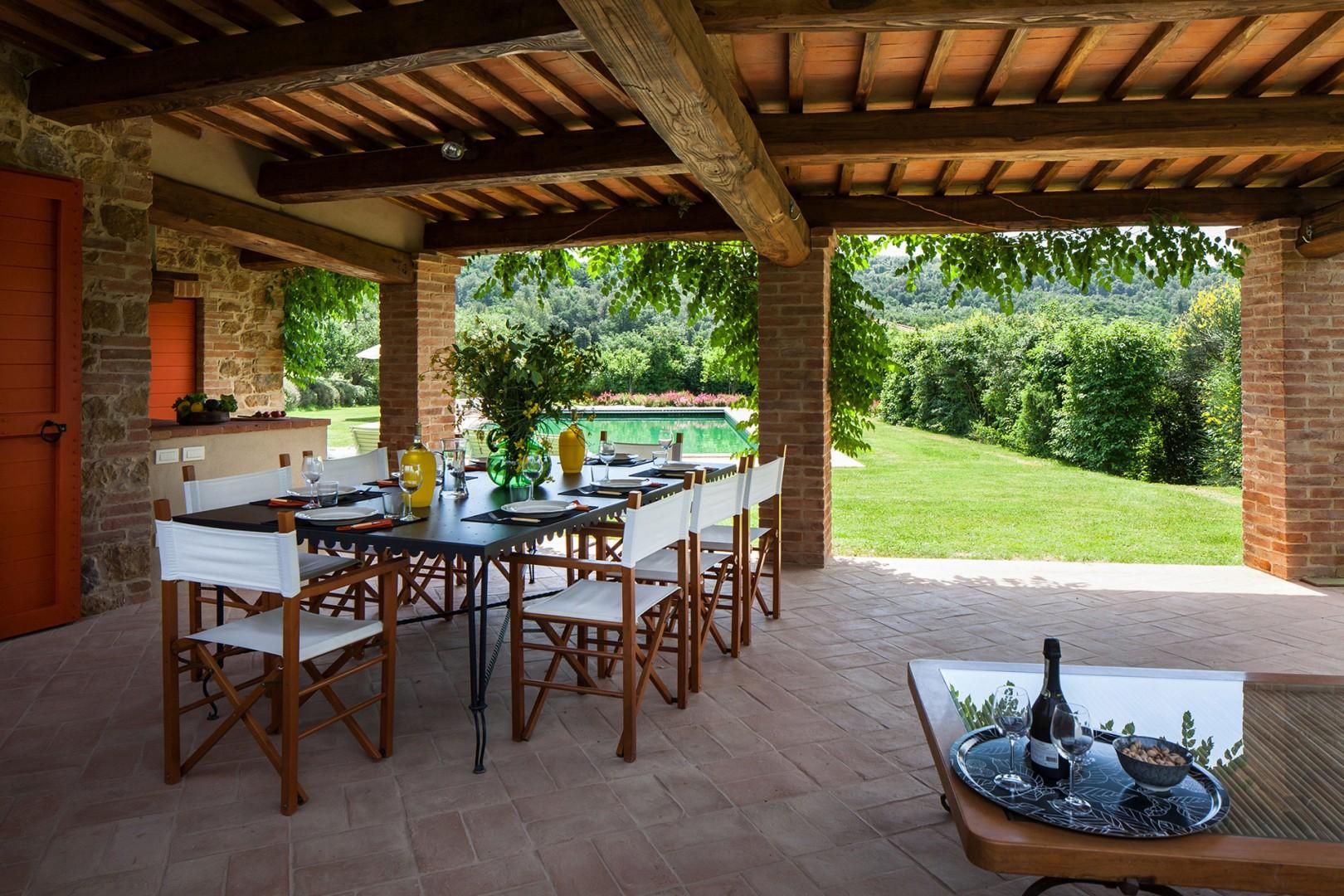 Dining table on the covered terrace.