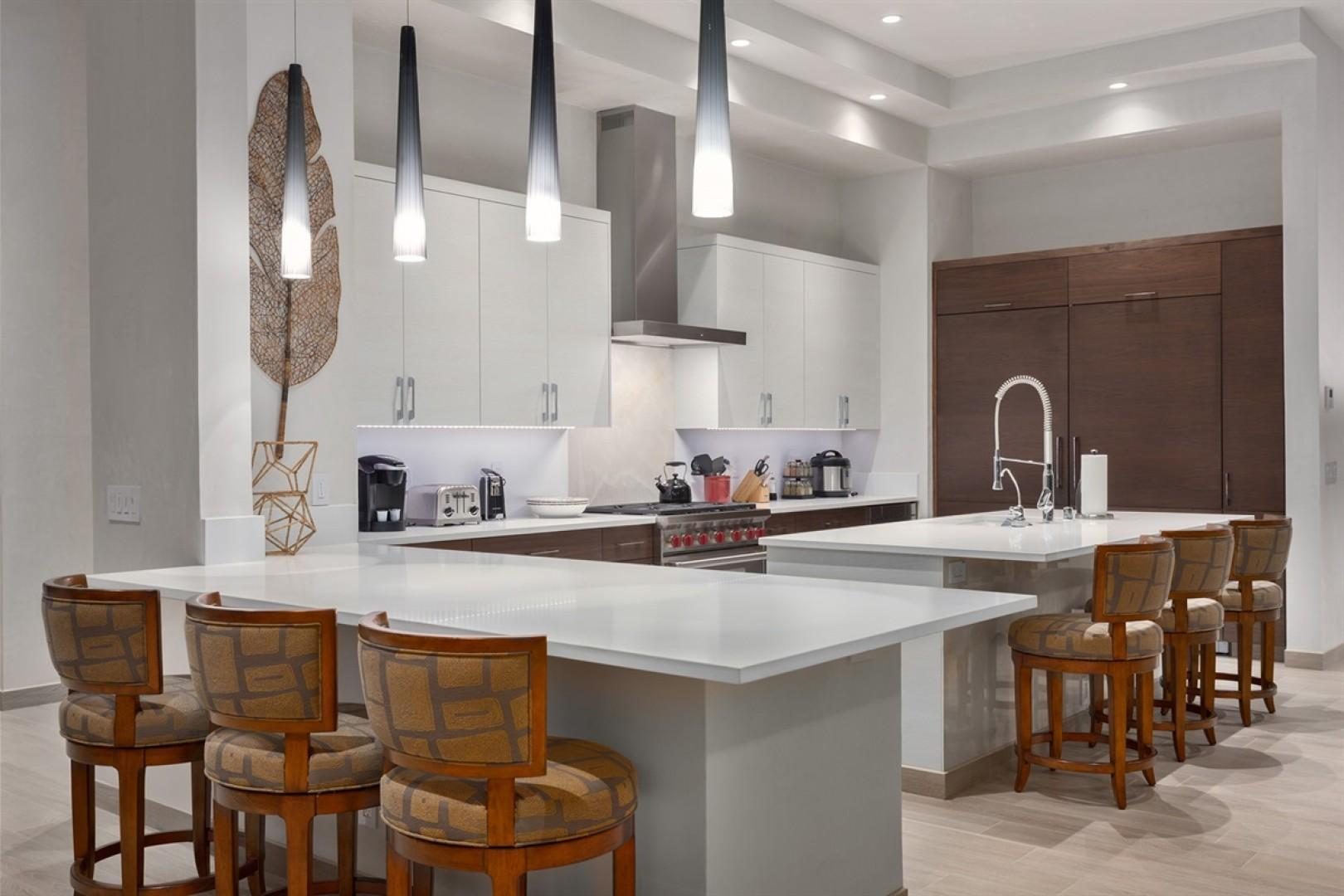 Gourmet modern kitchen with soaring ceilings.