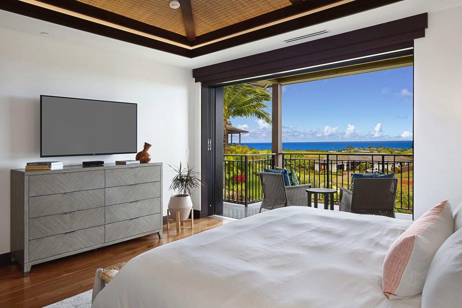 Master bedroom with lanai and ocean views