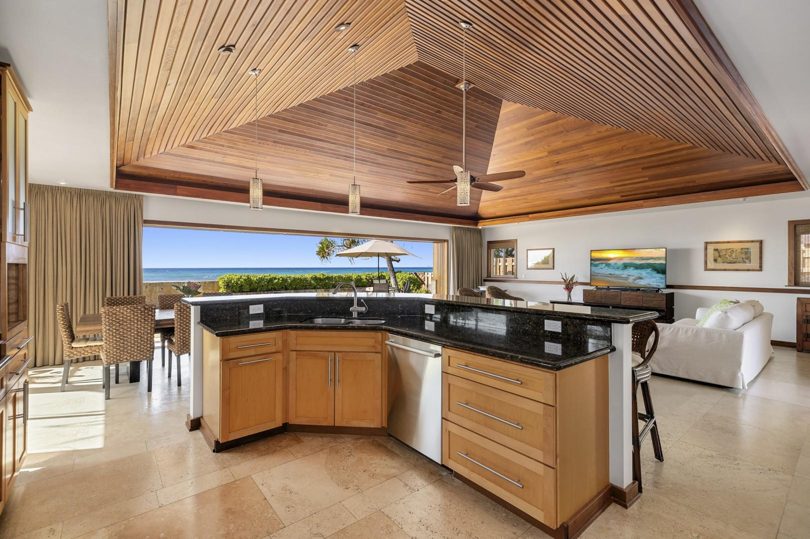 Open-concept kitchen with spectacular ocean views.