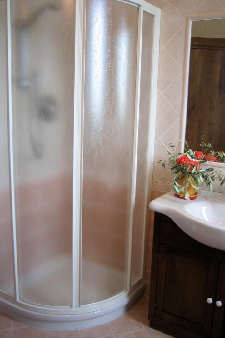 Bathroom 2 has a large fully enclosed shower.