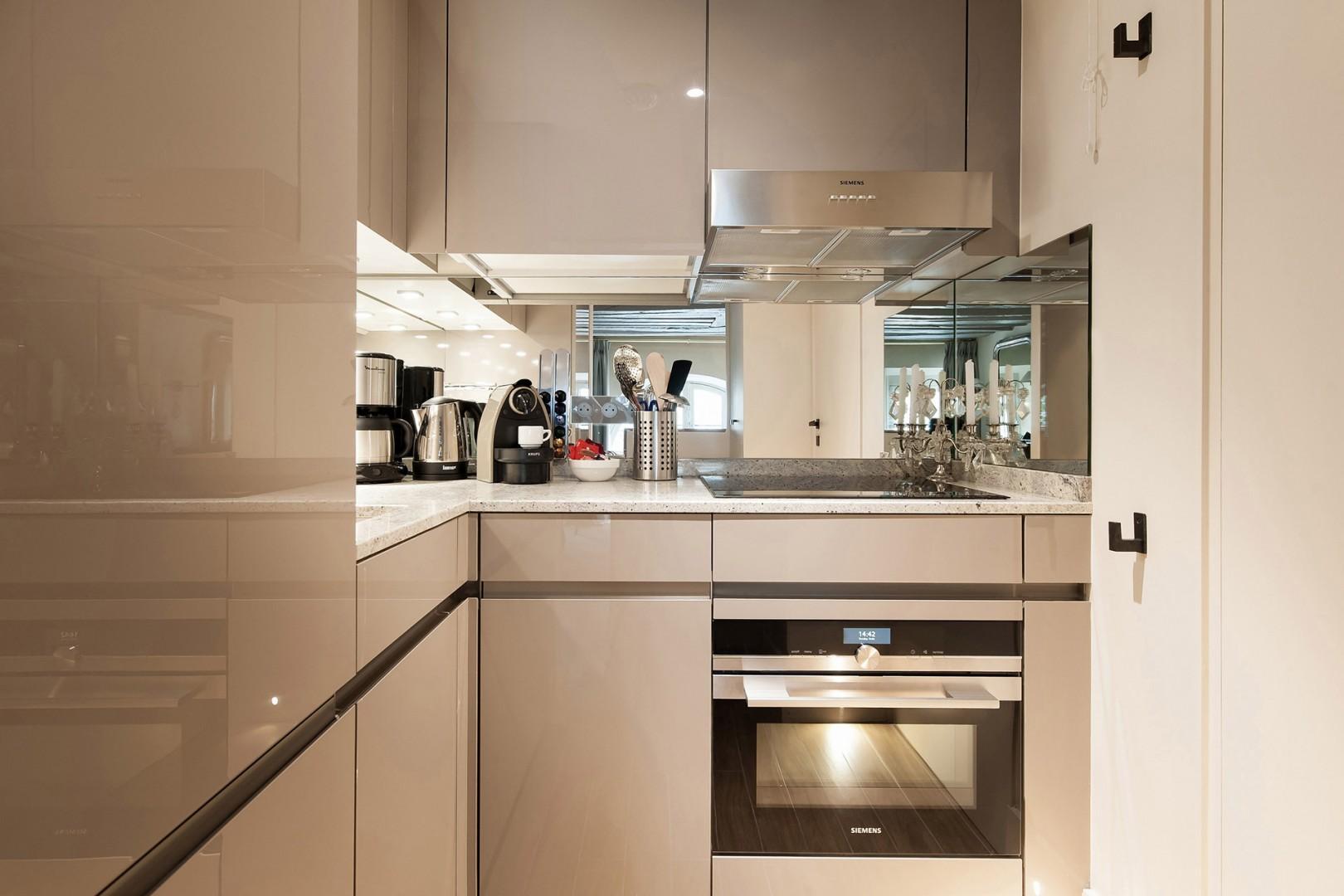 Modern kitchen located on the upper floor