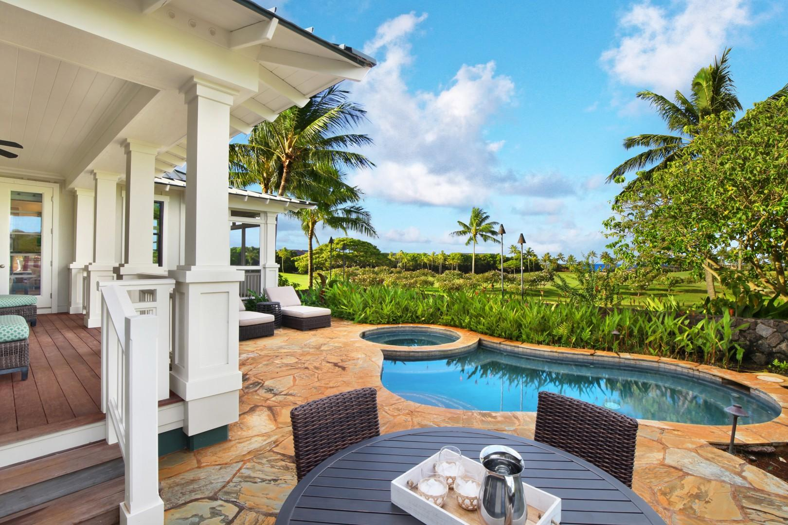 Pool and hot tub with golf course and ocean view
