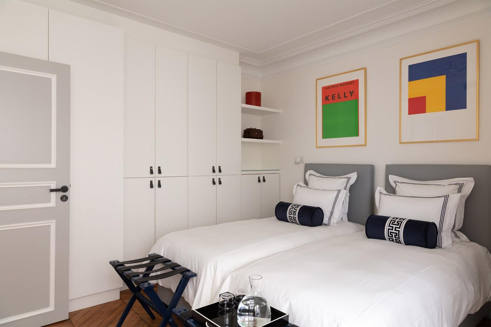There are practical built-in closets in bedroom 3.