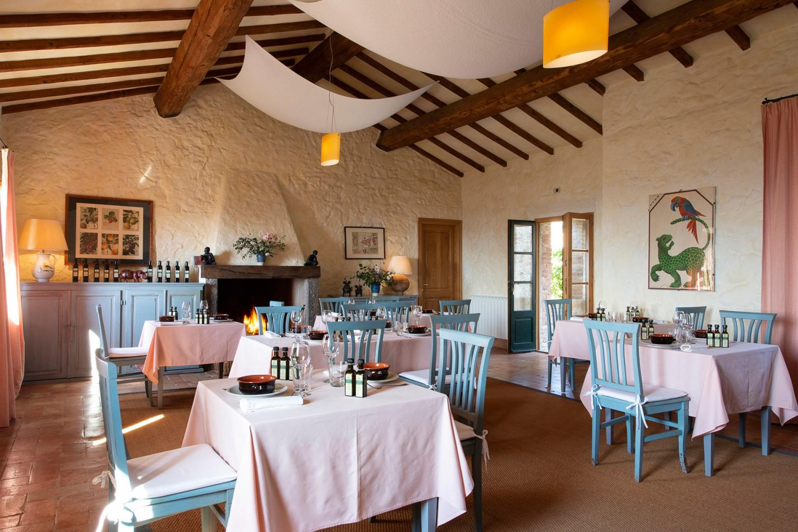 Estate dining room. A nice way to meet your neighbors and to enjoy authentic Tuscan cooking.