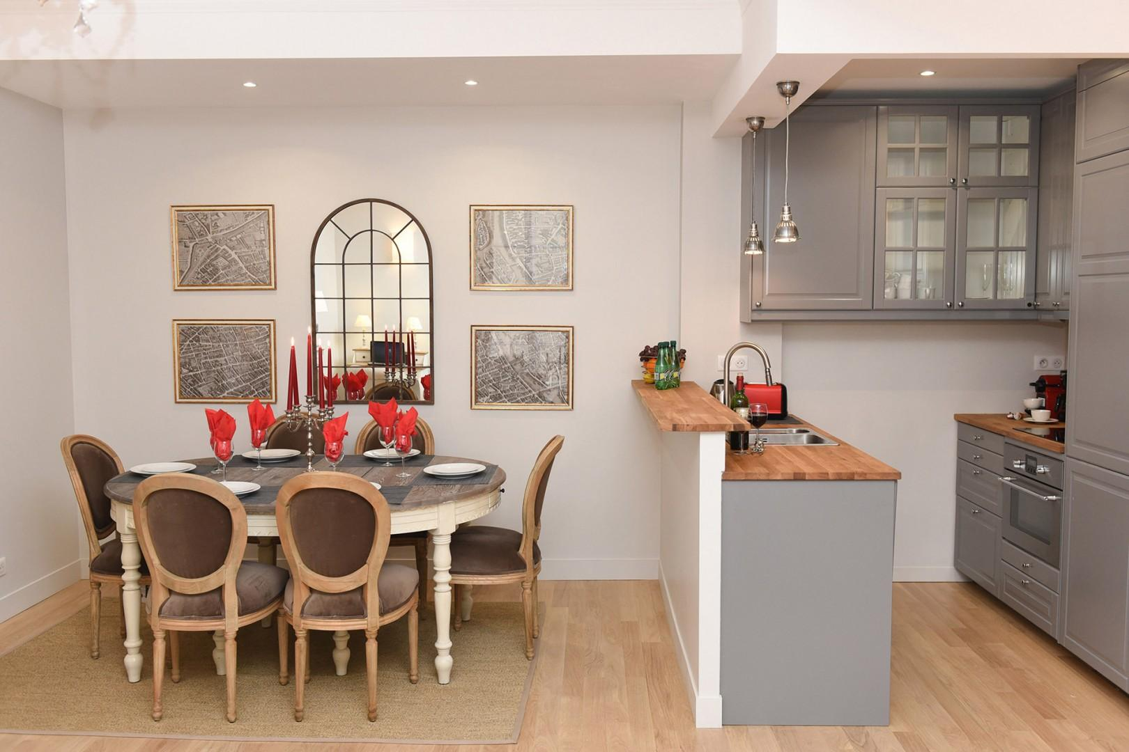 The open-plan kitchen and dining area is great for easy serving.