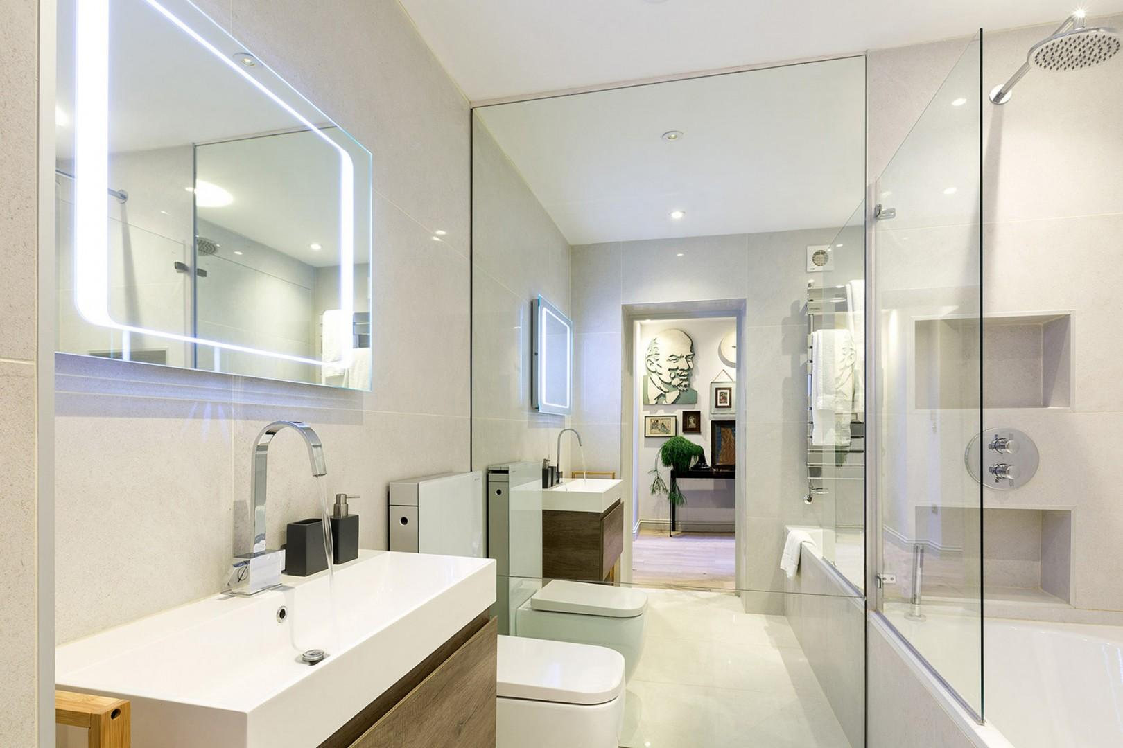 Touch-activated vanity lights in bathroom 1