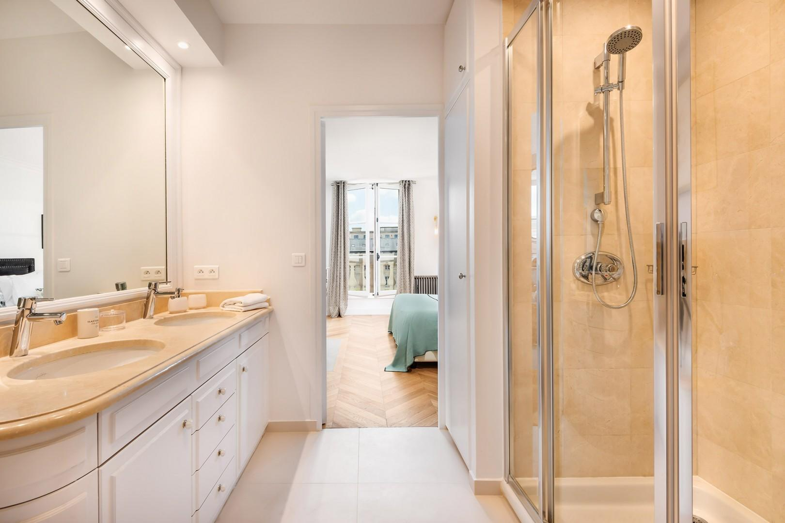Start your day with an energizing shower in this sleek space.