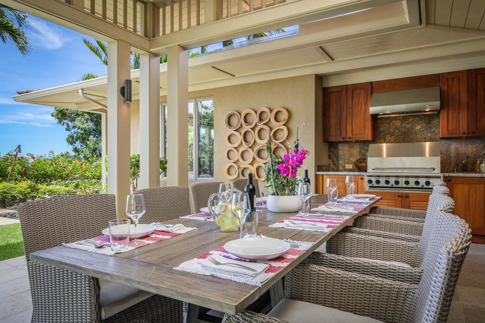 Stylish and modern al fresco dining with ocean views, BBQ grill.