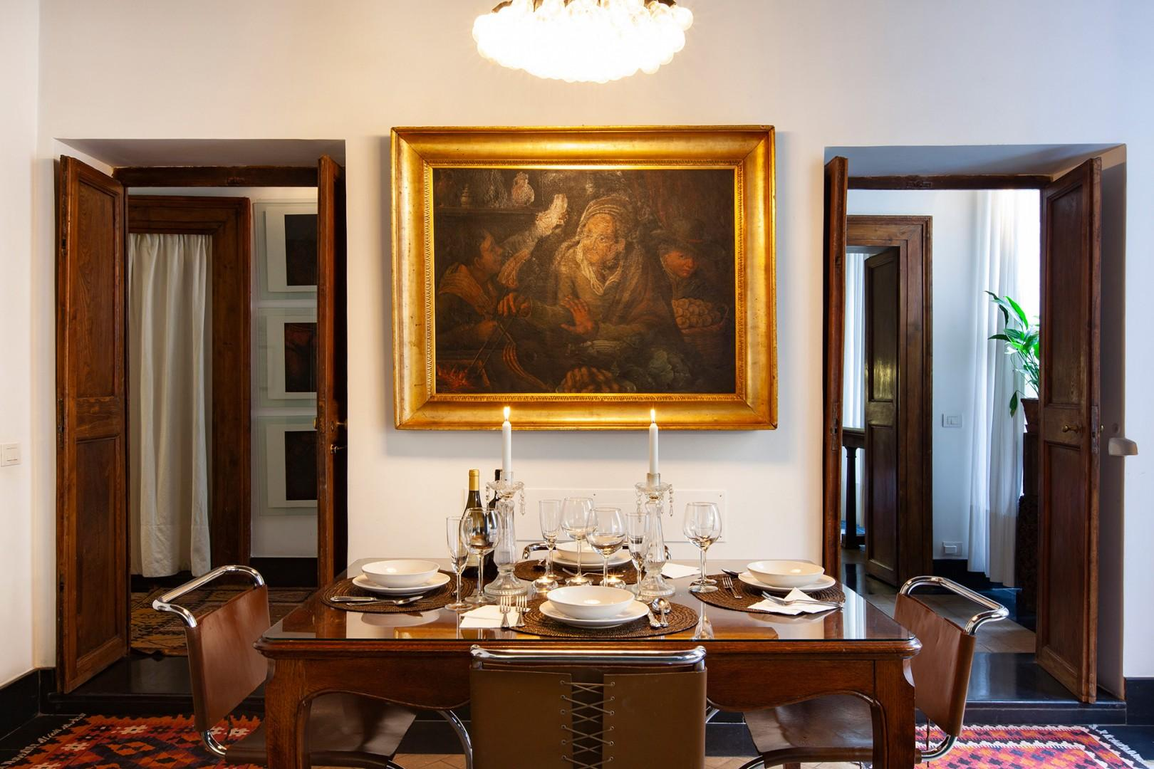 Refined artwork and tasteful antiques.