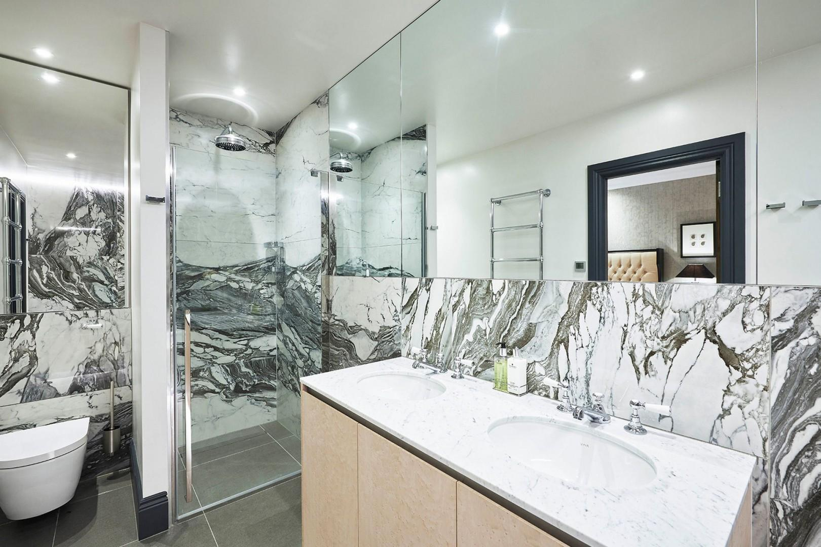 Shower and double-sink vanity