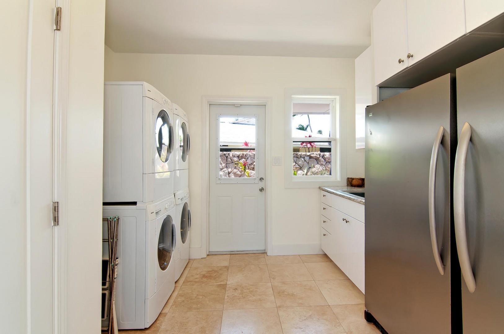 Laundry room - Two washers, two dryers, extra full fridge and full freezer