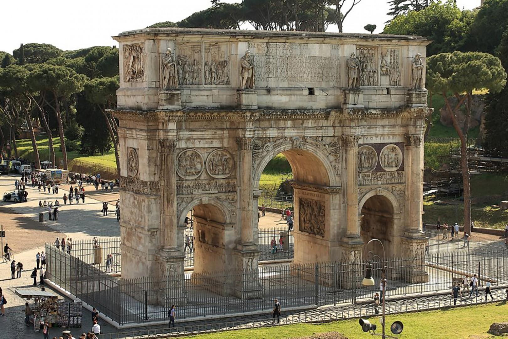 Be drawn to the nearby Triumphal Arch of Constantine the Great (r. A.D. 312-335)