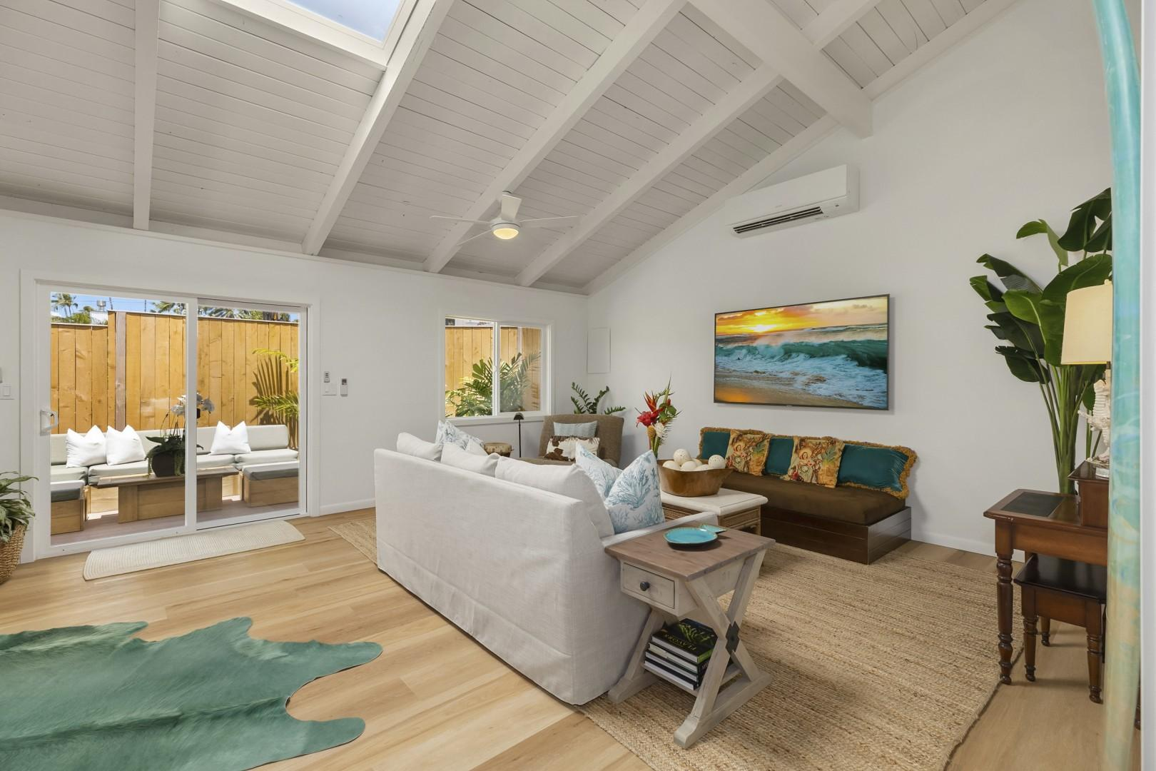 Living Room opens up to private outdoor lanai.