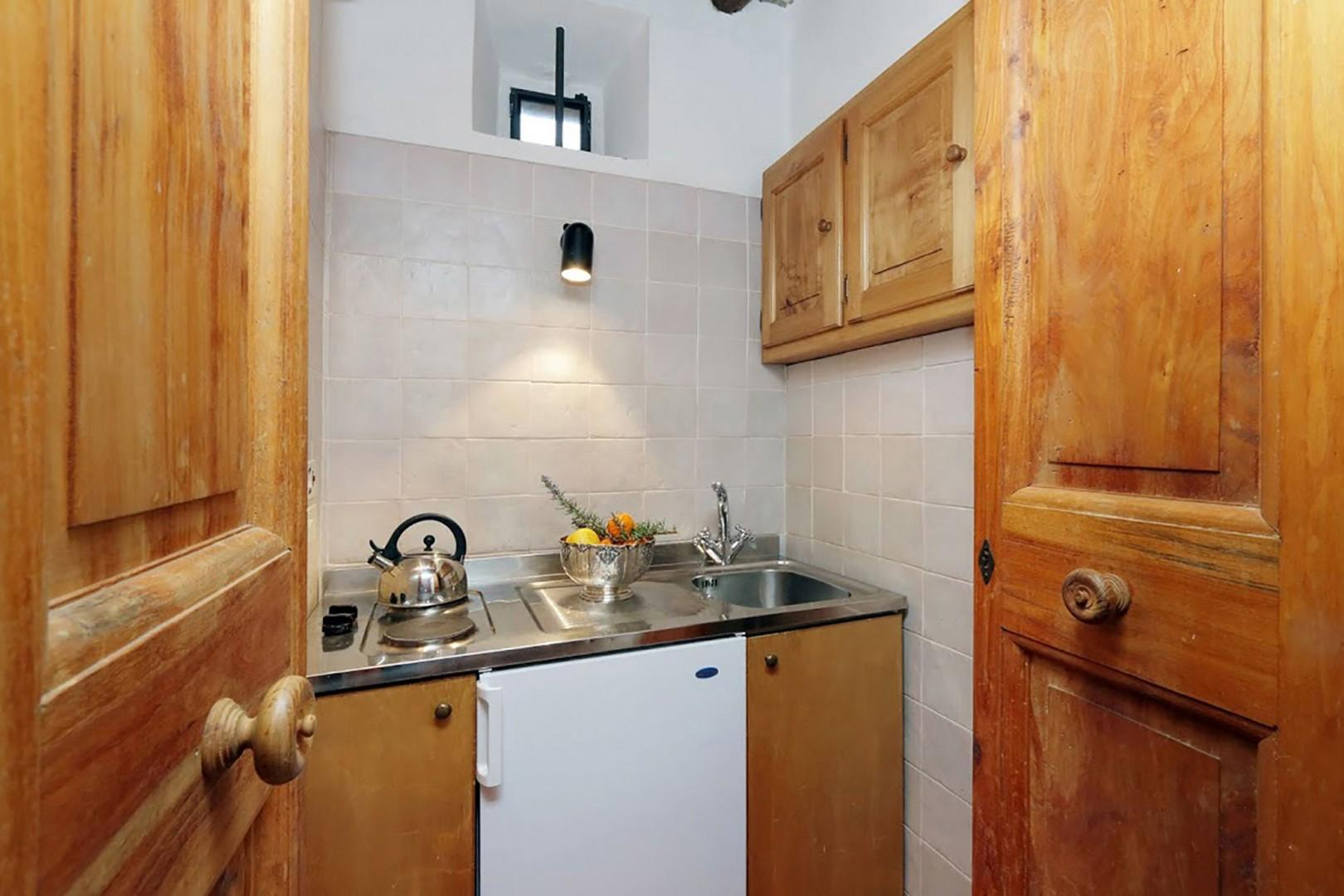 Efficiency kitchen in the single bedroom apartment on the lower level.
