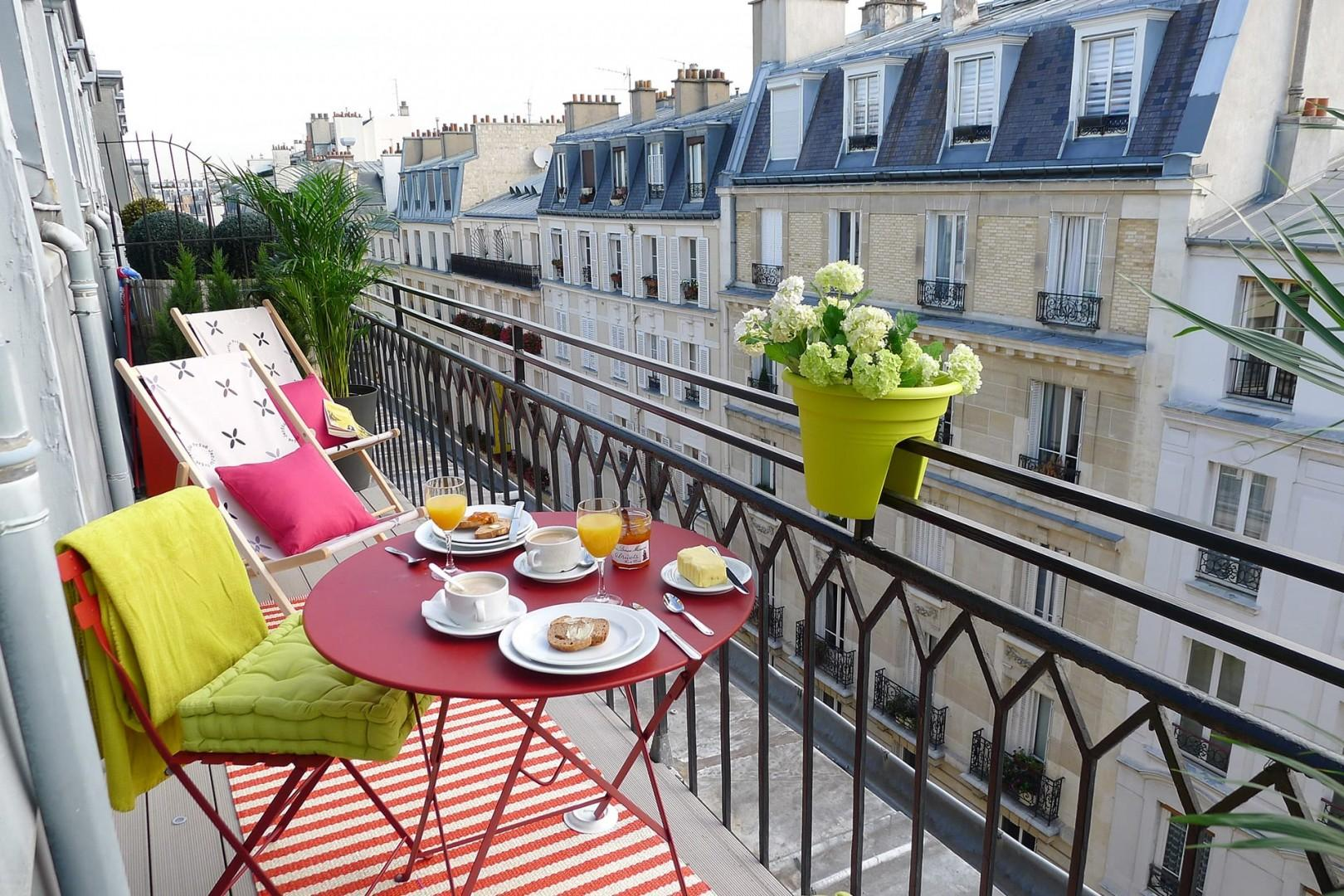 The balcony is long enough for small bistro table and chairs.