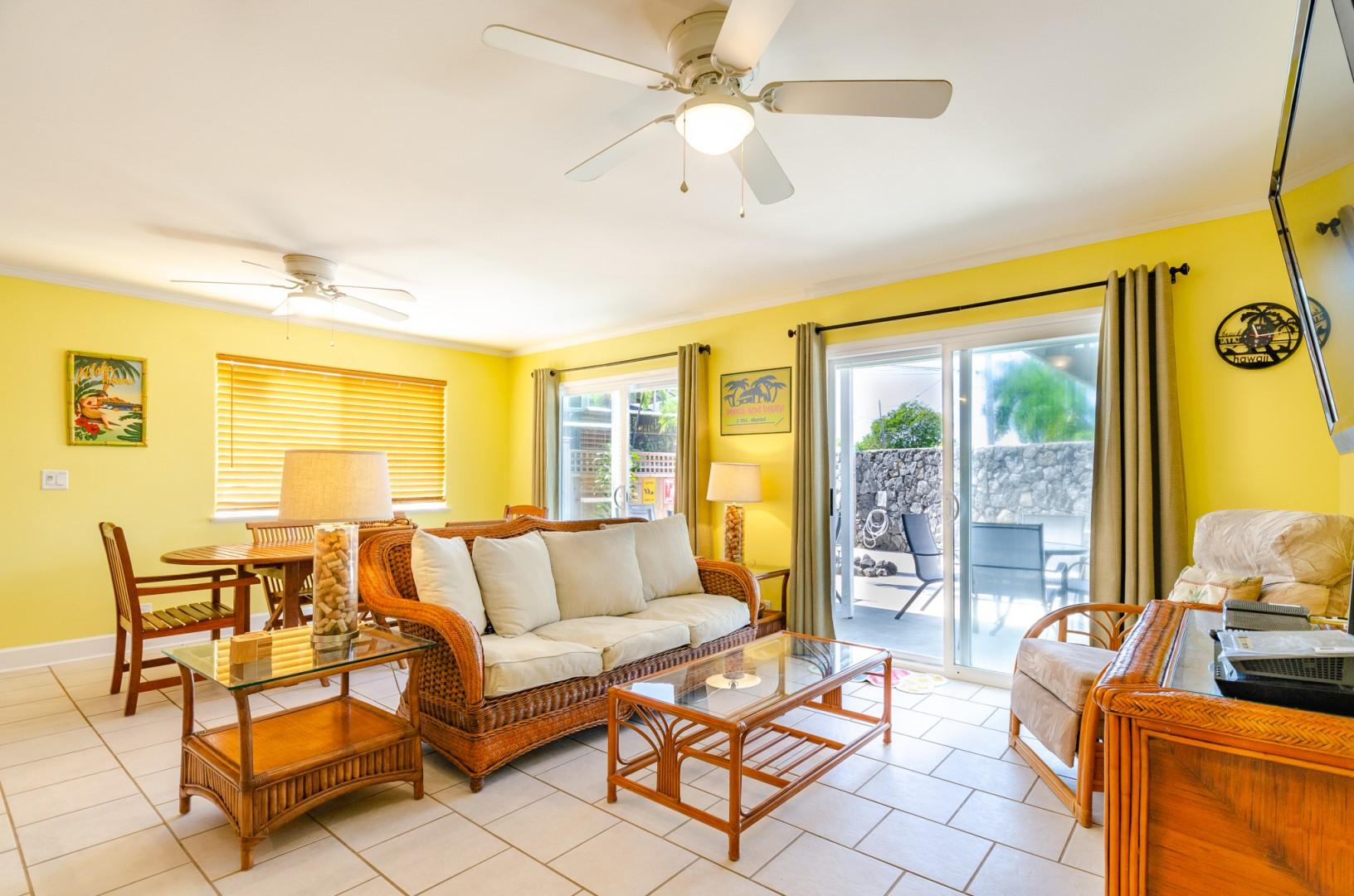 Lanai access from the living room and dinning room
