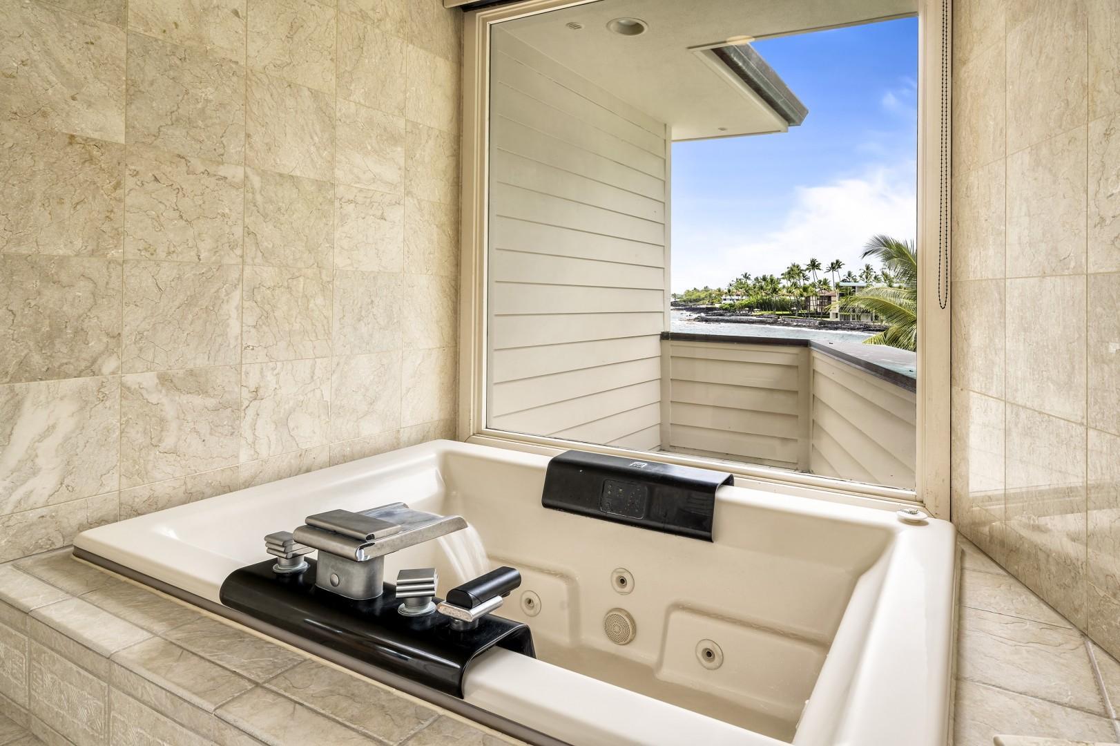 Large soaking tub overlooking the coastline