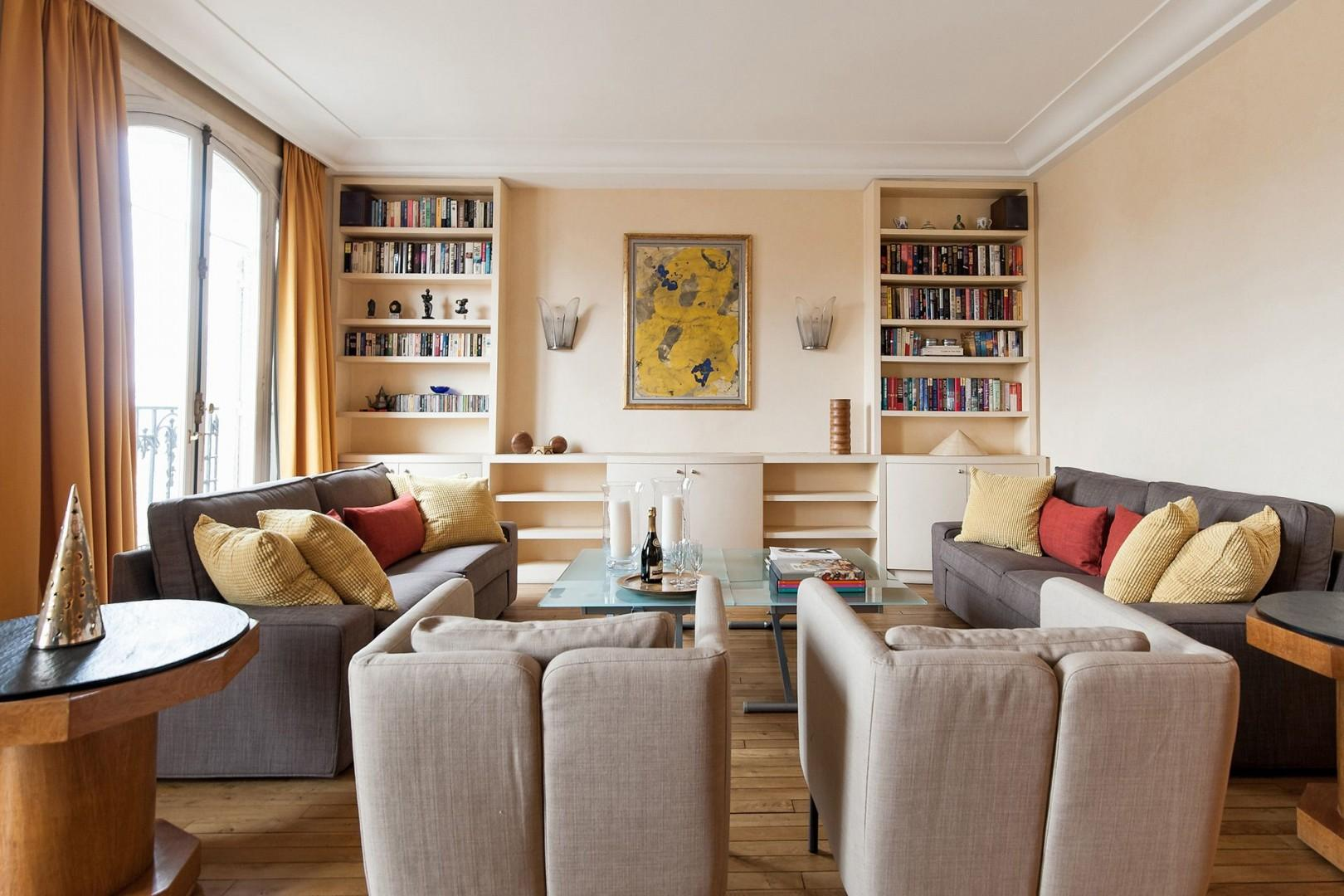 Relax in the cozy living room after a day of sightseeing.