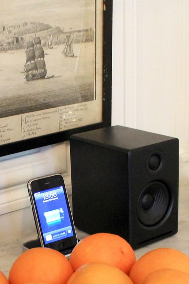 iPod docking station in living room