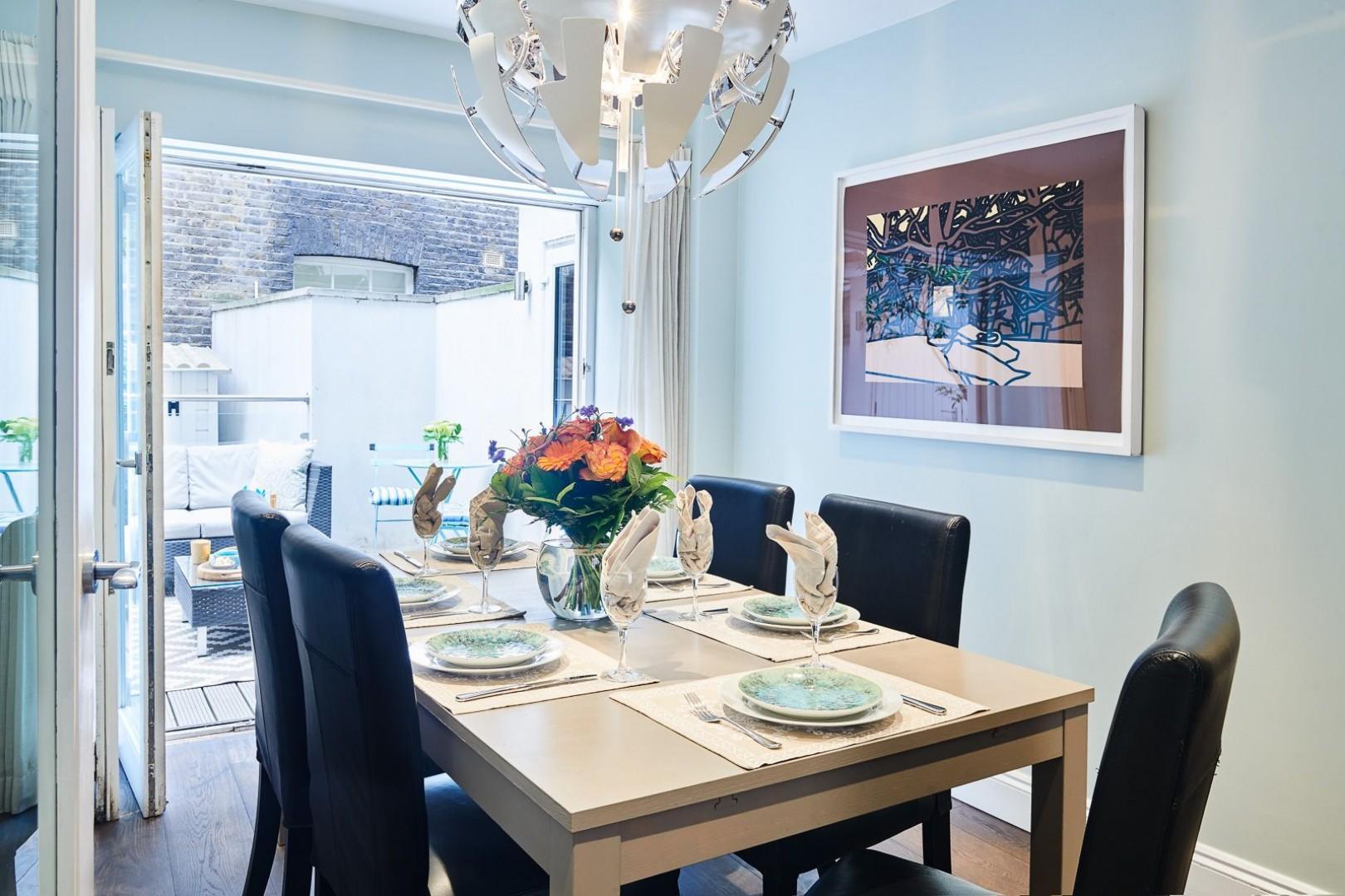 Natural light fills the dining room