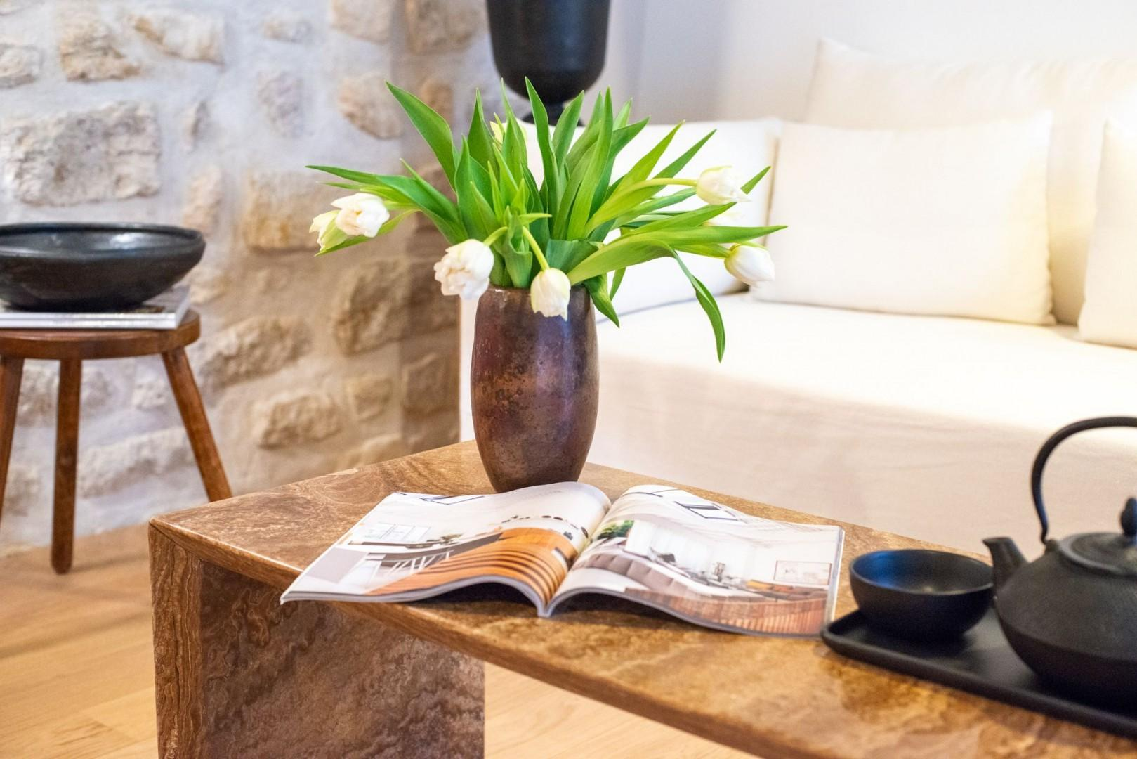 Relax on the comfy couch with a magazine and cup of tea.