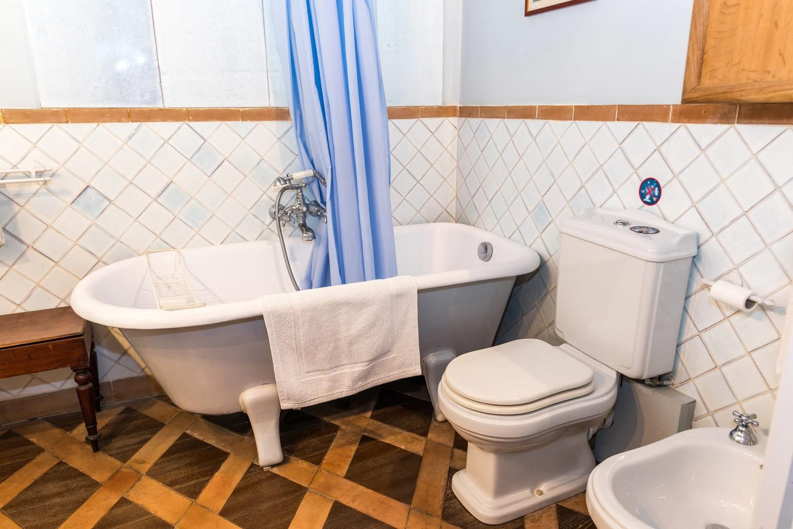 The bathroom has a bathtub fitted with a handheld showerhead, toilet and bidet.