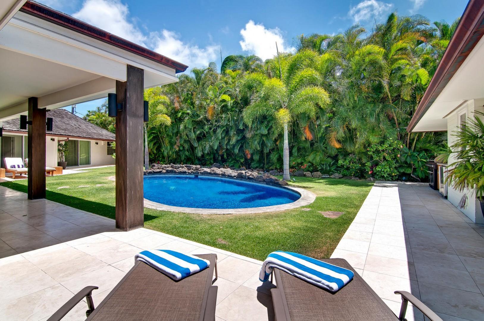 Lounge in the Backyard Near the Pool