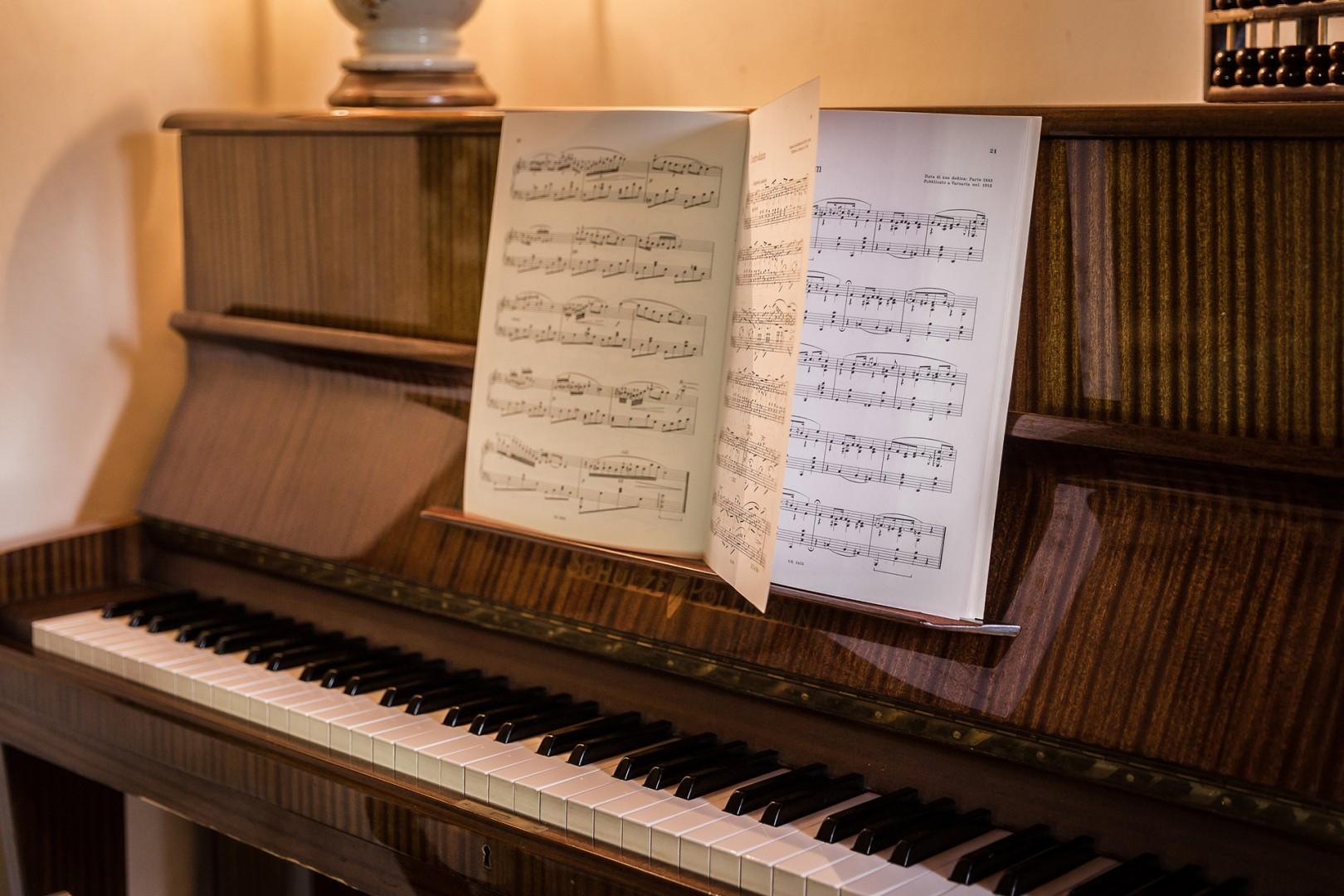 Piano in entertainment room.