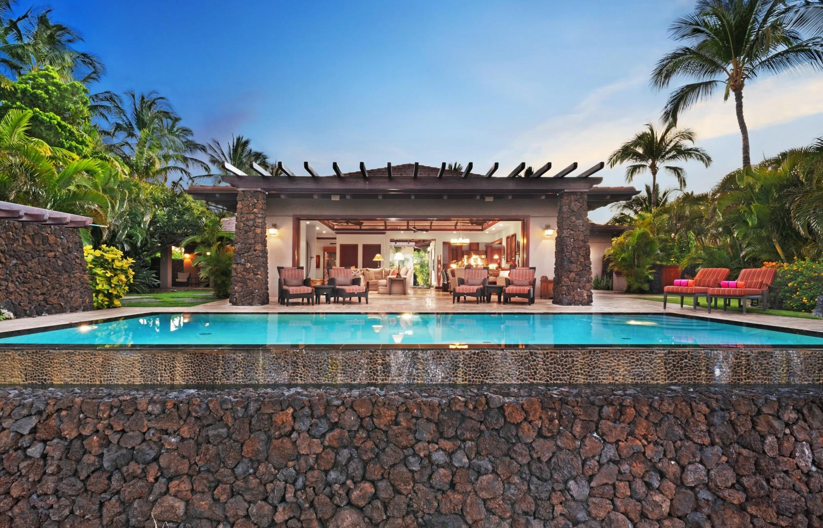 Inviting Infinity Pool & Lava Rock Wall