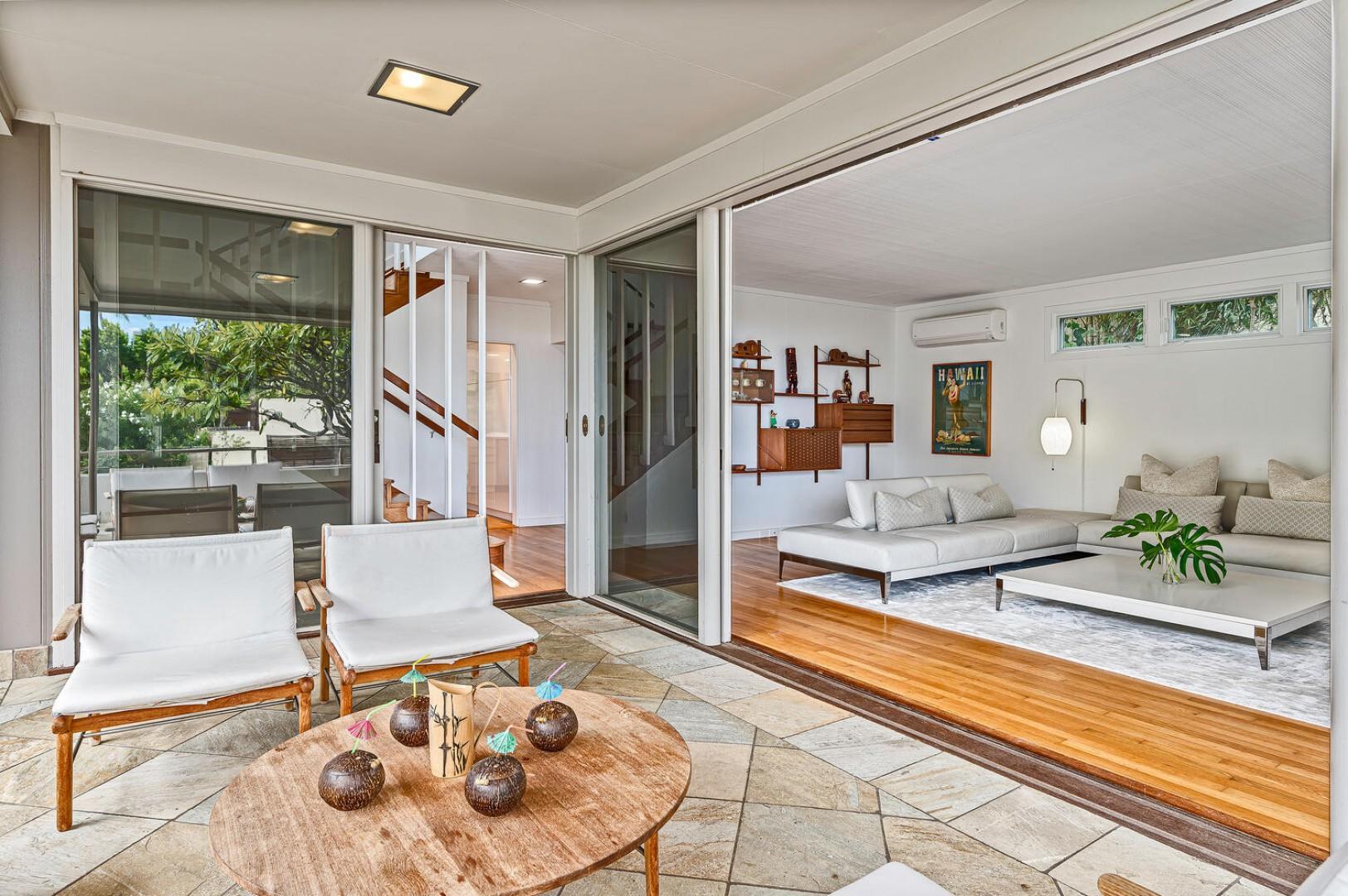 Indoor outdoor living, large sliding glass doors