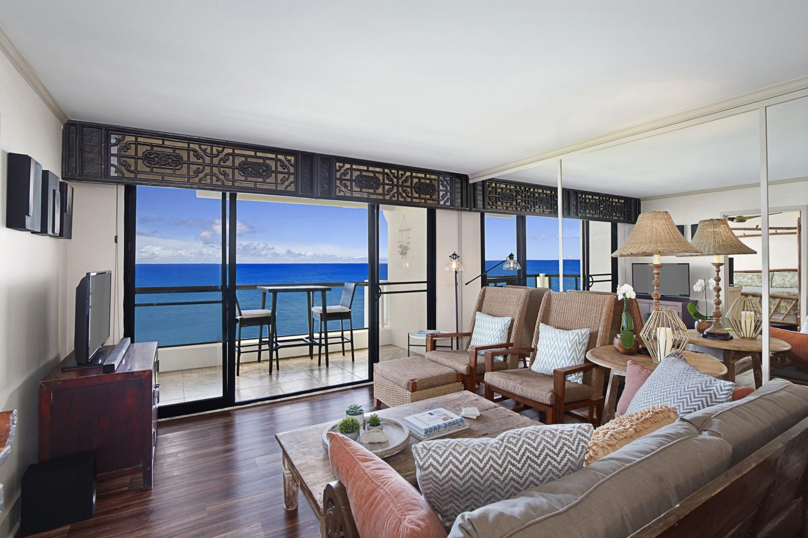 Living room with an ocean view