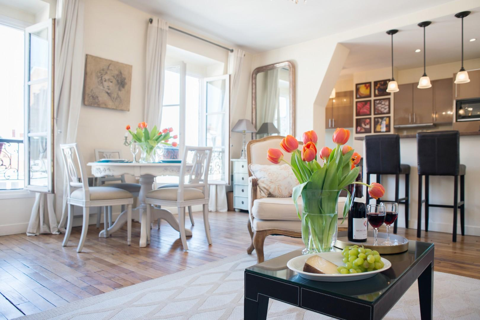 The soft décor creates a warm and welcoming room.