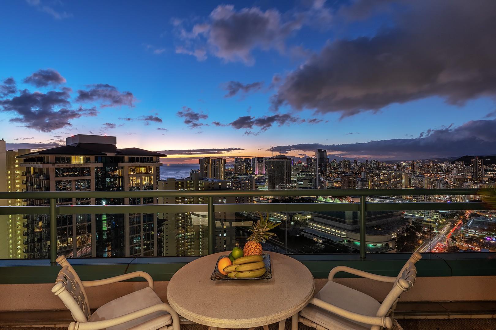 Waikiki and Honolulu Sweeping Views during Twilight