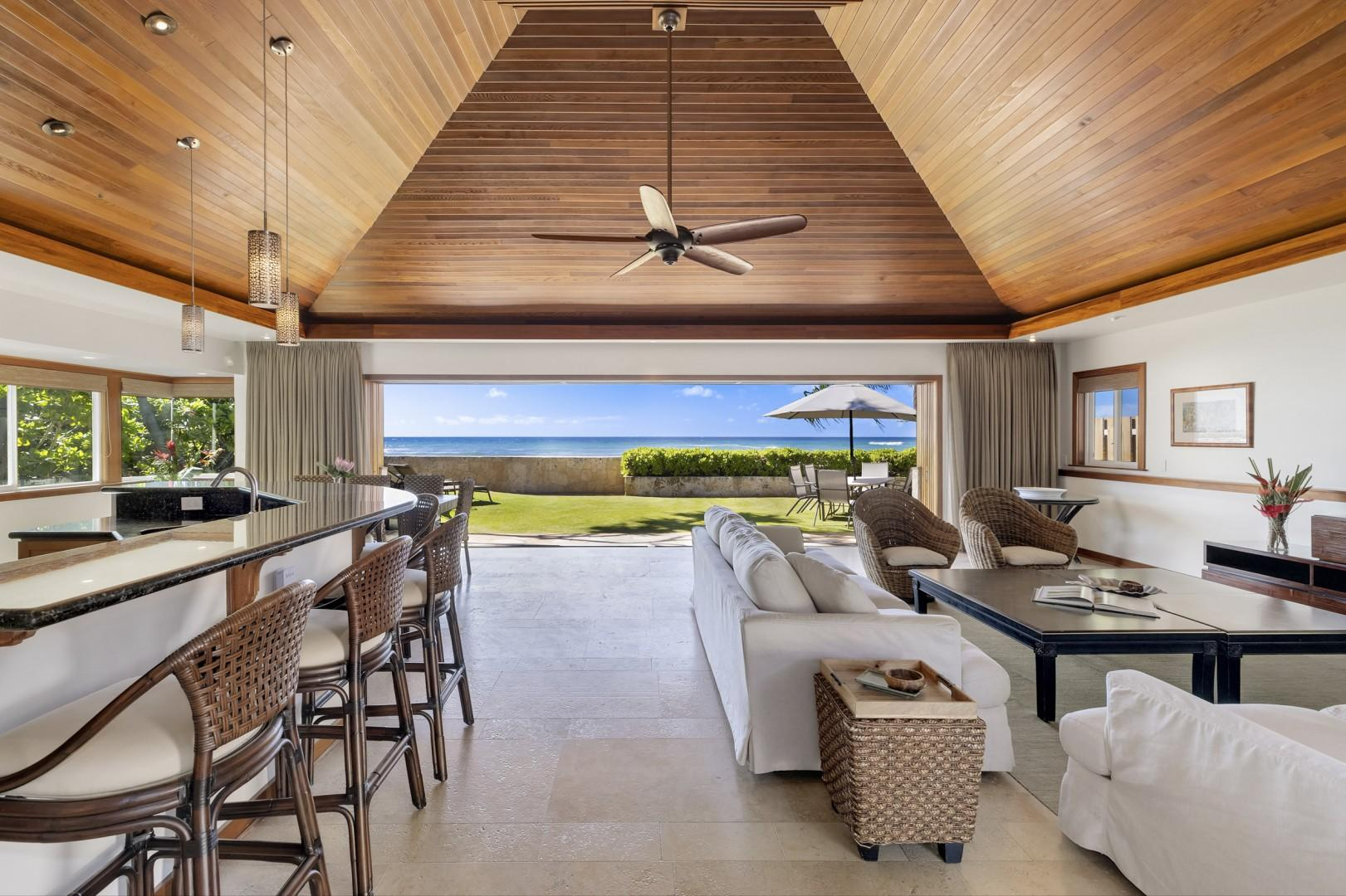 Living Room opens up to the Oceanside Yard
