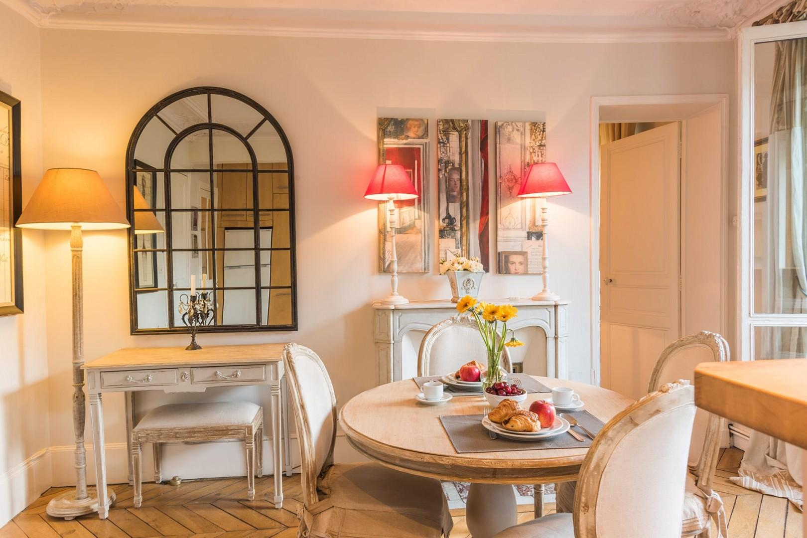 The dining room is perfect for romantic dinners at home.
