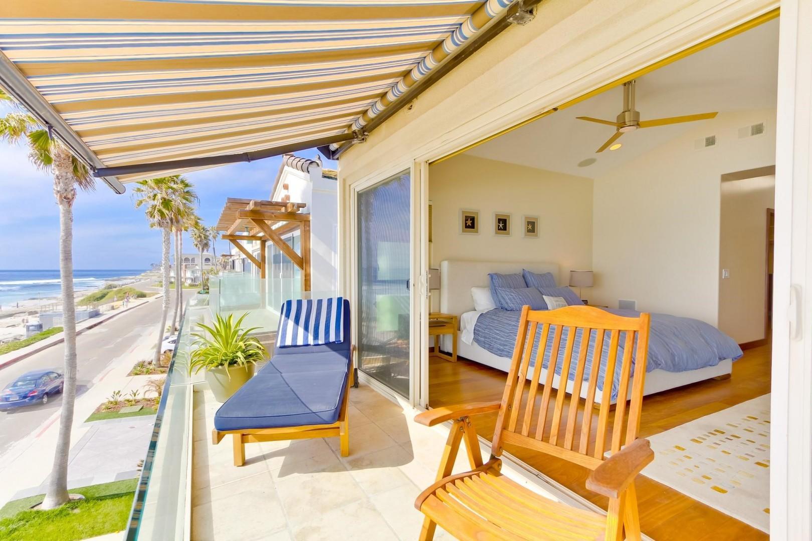 Master Bedroom ocean view balcony