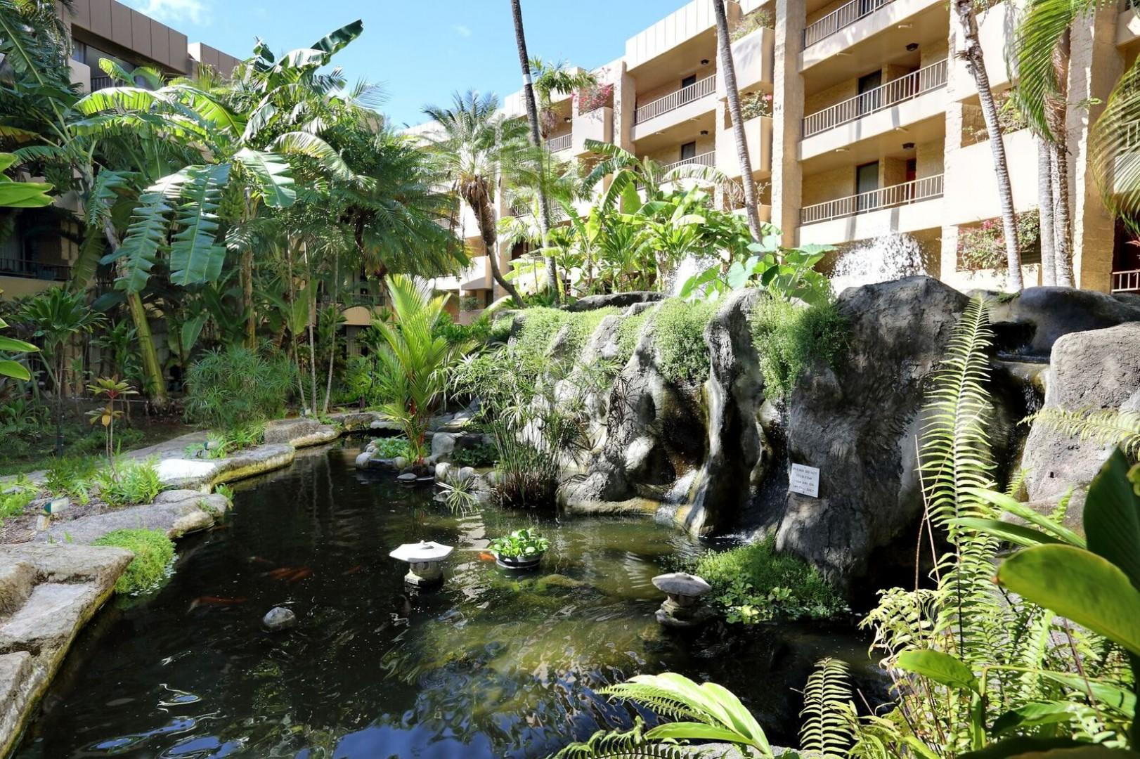 Koi Ponds and Lush Gardens directly off your lanai