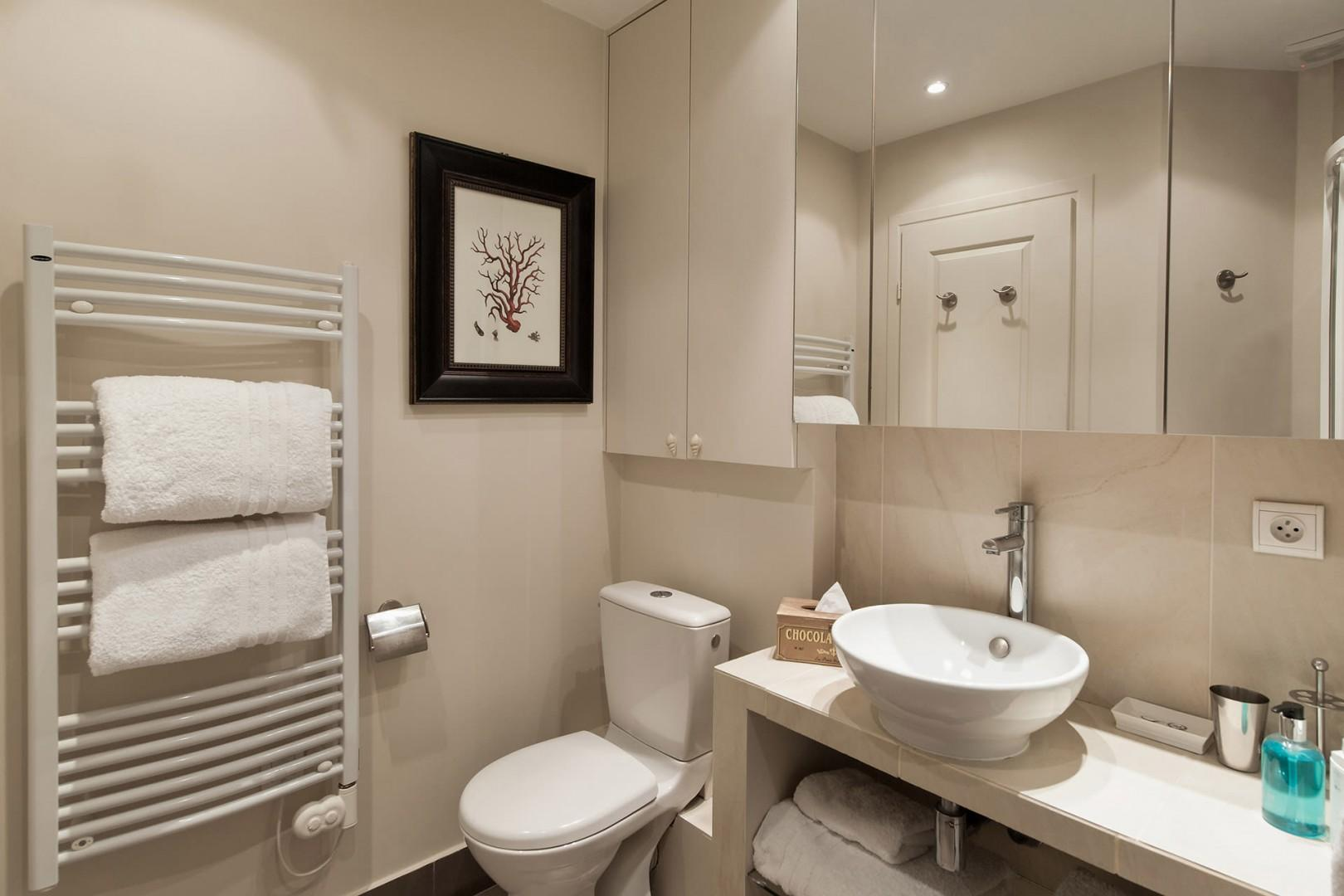 Pamper yourself in the luxurious and modern bathroom.