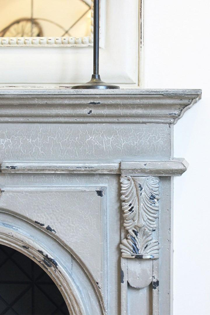 Fireplace mantle (decorative only) in the living room