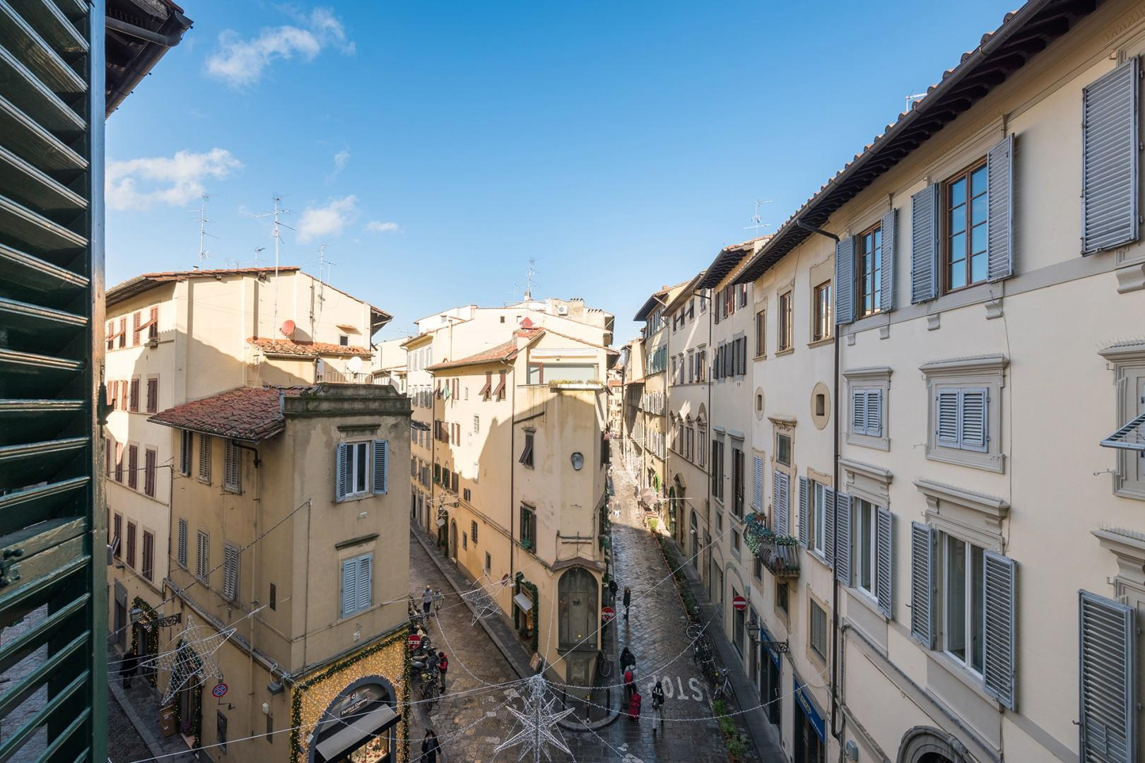 View from apartment overlooking Via della Spada with its great restaurants and world-class shopping.
