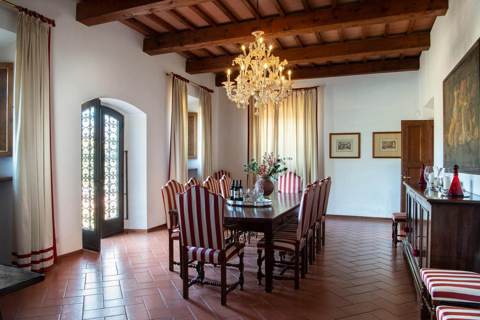 French doors in the dining room open out onto the terrace.