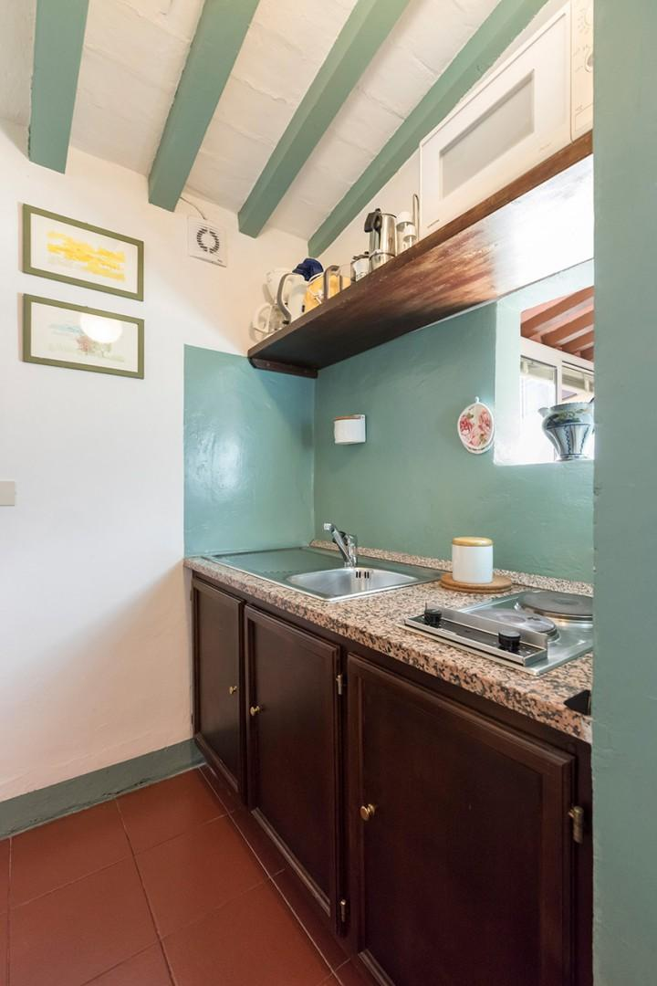 The kitchen is small, but has everything for preparing meals.