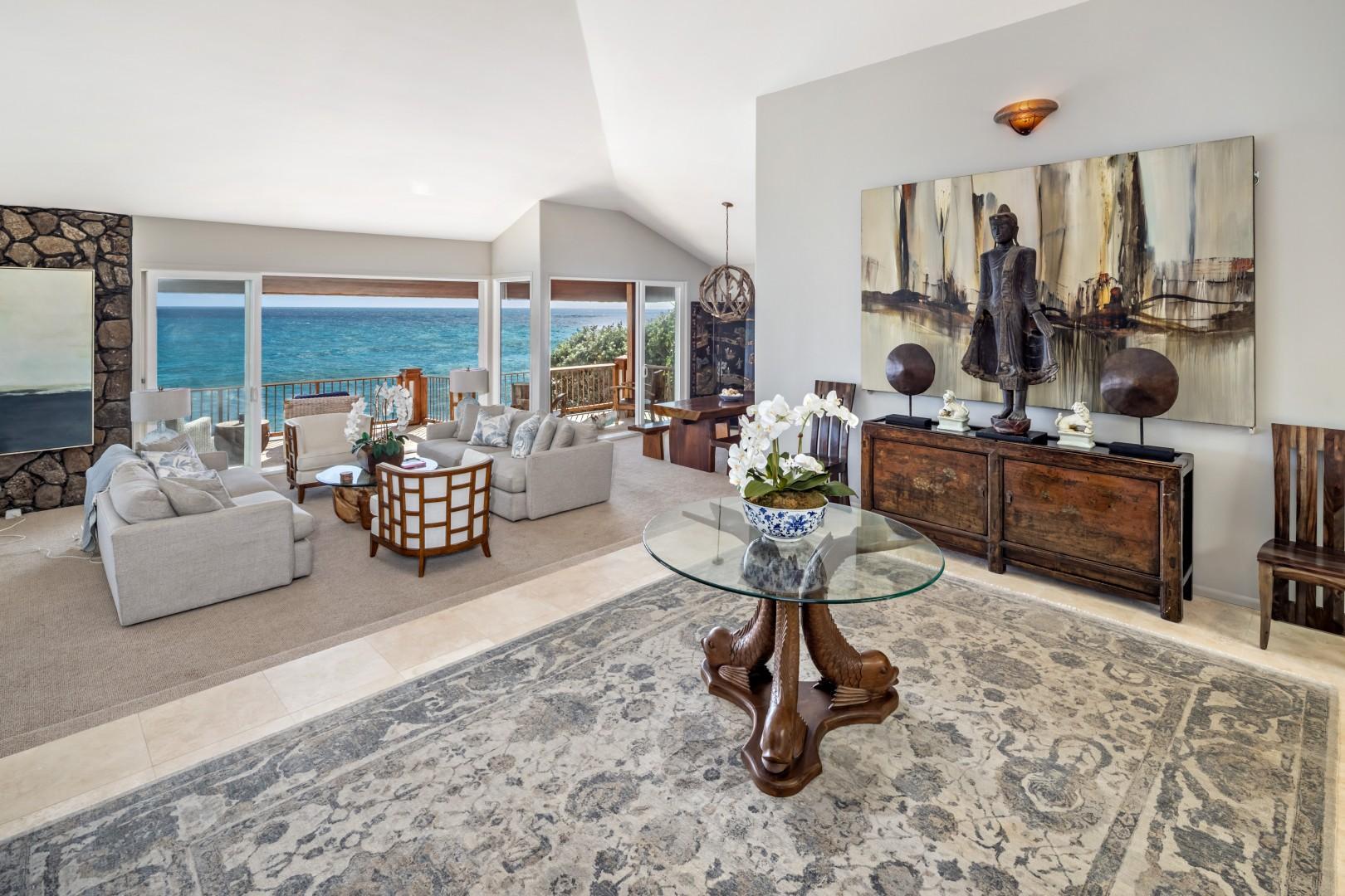 Living room and ocean views